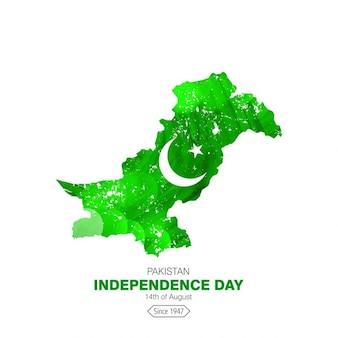Glühend land auf karte pakistan independence day