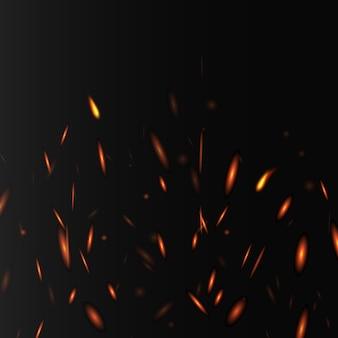 Glühende abstrakte anordnung mit feuer funkelt und lichter, realistische illustration auf dunklem hintergrund. bannerschablone mit funkelnden heißen feuerelementen.