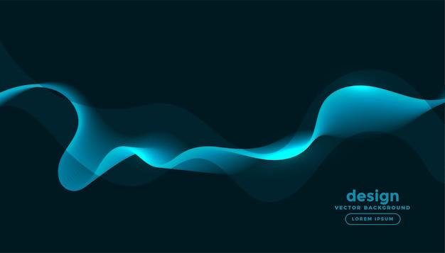 Glühende blaue wellen kurven abstrakten hintergrund