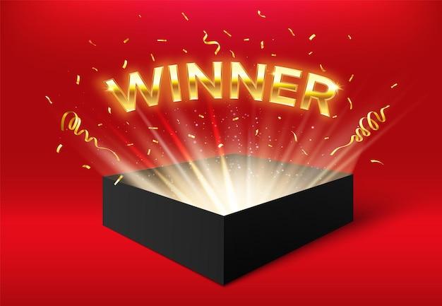 Glühende box des gewinners mit goldenen bändern und konfetti. überraschungskarton isoliert auf rot für eventfeiern. gewinn im wettbewerb, werbegeschenk, jackpot-preisbanner-vektorillustration