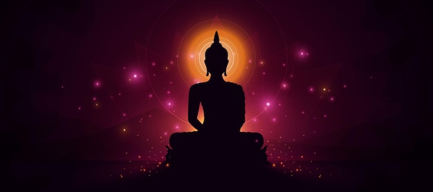 Glühende buddha-statue im dunklen hintergrund
