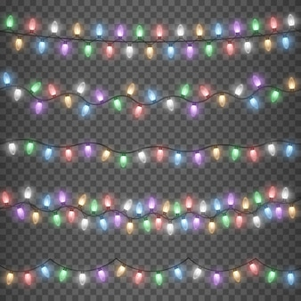 Glühende bunte weihnachtsgirlandenschnur