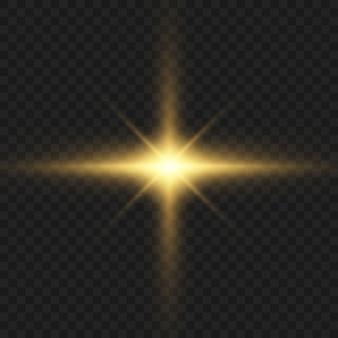 Glühende effekte von licht, blitz, explosion und sternen