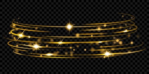 Glühende feuerringe mit glitzer in goldfarben auf transparentem hintergrund. lichteffekte. transparenz nur im vektorformat