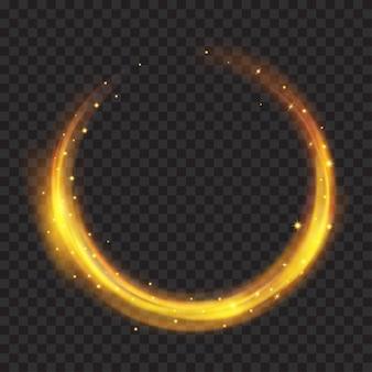 Glühende feuerringe mit glitzer in goldfarben auf transparentem hintergrund. lichteffekte. zur verwendung auf dunklen hintergründen. transparenz nur im vektorformat