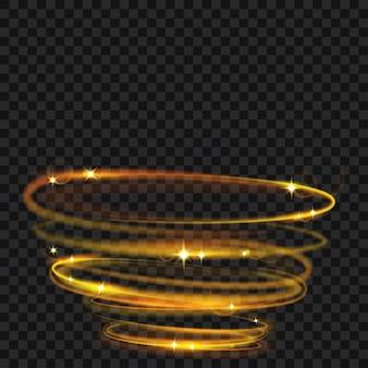 Glühende feuerringe mit glitzer in goldfarben. lichteffekte