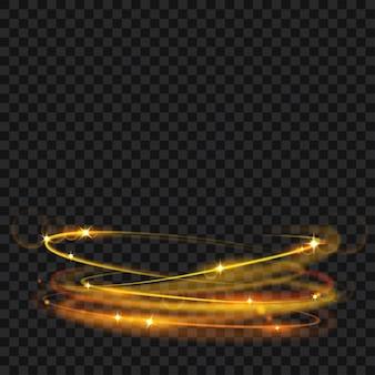 Glühende feuerringe mit glitzer in goldfarben