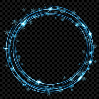 Glühende feuerringe mit glitzer und schneeflocken in hellblauen farben auf transparentem hintergrund. lichteffekte. transparenz nur im vektorformat