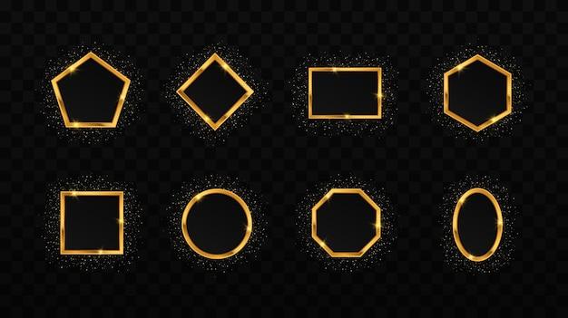 Glühende funkelnde rahmen glitzerkreis quadratisches polygonrechteck