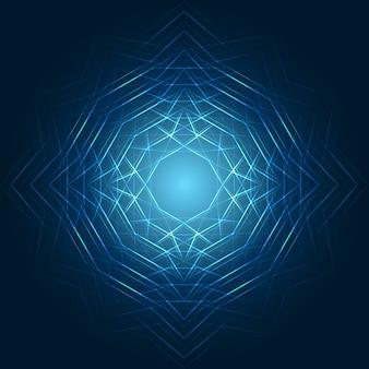 Glühende geometrische formen auf blauem hintergrund
