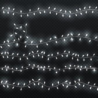 Glühende girlande glänzende ränder mit weißen glühlampen. weihnachtsbeleuchtung vektor festgelegt. girlandendekoration für weihnachten, illustration der weißen glühenden glühlampe der lichtwirkung