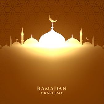 Glühende glänzende moschee ramadan kareem hintergrund