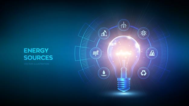 Glühende glühbirne mit energieressourcenikone. strom- und energiesparkonzept. energiequellen.