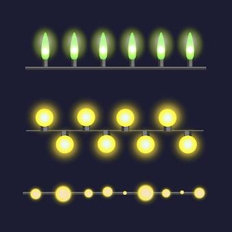 Glühende glühlampen der weihnachtsgirlande eingestellt für weihnachten