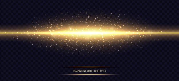 Glühende goldene linie mit dem lichteffekt lokalisiert auf dunkles transparentes