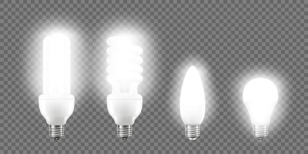 Glühende led-birne auf transparentem hintergrund isoliert. 3d-vektor realistische illustration