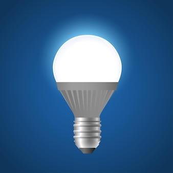 Glühende led-glühbirne - moderne realistische lokalisierte illustration des vektors auf blauem hintergrund. hochwertiges objekt, clipart. kann als metapher für energie, gedanken, mentale prozesse, ideen verwendet werden