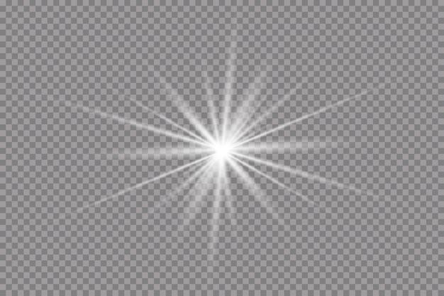 Glühende lichteffekte, fackeln, explosionen und sterne.