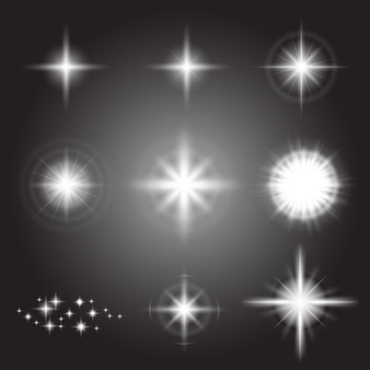 Glühende lichteffekte, fackeln, explosionen und sterne