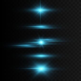 Glühende lichteffekte isoliert auf transparentem hintergrund