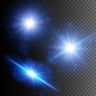 Glühende lichteffekte isoliert. stern platzte vor funkeln. blue lens flare set