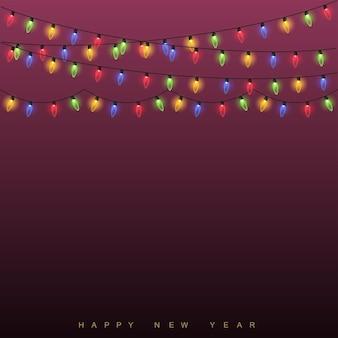 Glühende lichter des weihnachtshintergrundes. vektor
