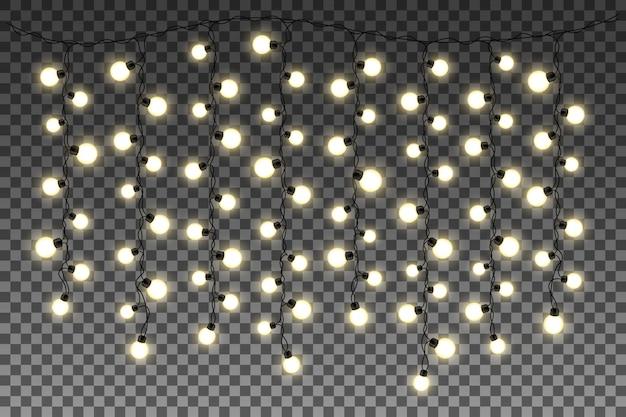 Glühende lichter getrennt auf transparentem hintergrund.