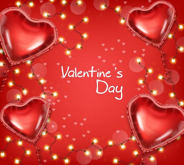 Glühende lichter und ballone valentine days