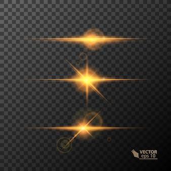 Glühende lichter und sterne lokalisiert auf schwarzem transparentem hintergrund