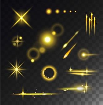 Glühende lichtsterne grellen und glühen lokalisiert auf schwarzem transparentem hintergrund.