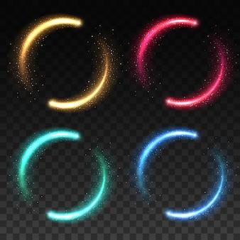 Glühende magische lichtringe