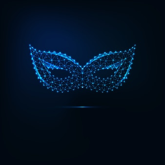 Glühende maskenmaske mit niedrigem poly-karneval