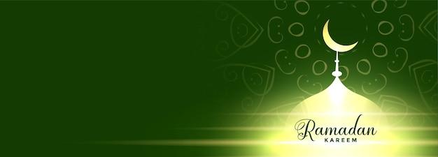 Glühende moschee ramadan kareem banner