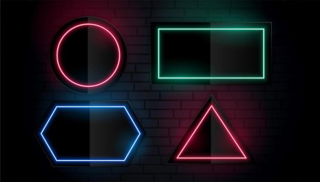 Glühende neon bunte geometrische rahmen design set