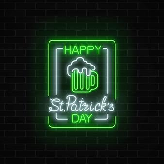 Glühende neongrüne bierkneipe mit dem feiertagstafel des heiligen patrick in rechteckigen rahmen