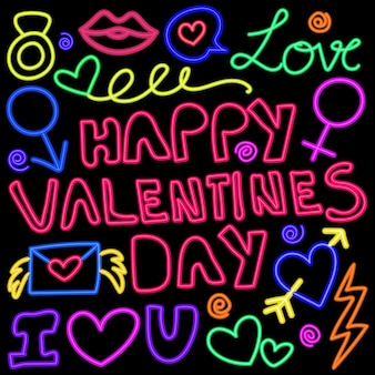Glühende neonlichter kritzeln muster für valentinsgrüße.