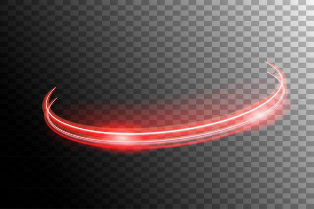 Glühende neonspirale des vektors geschwindigkeitslinien mit lichteffekt auf transparentem hintergrund. Premium Vektoren