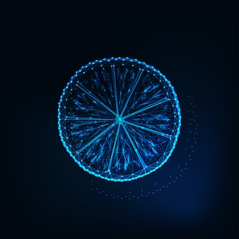 Glühende niedrige polygonale scheibe der zitrone lokalisiert auf dunkelblauem hintergrund.