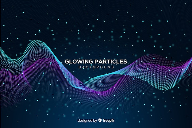 Glühende partikel wellig hintergrund