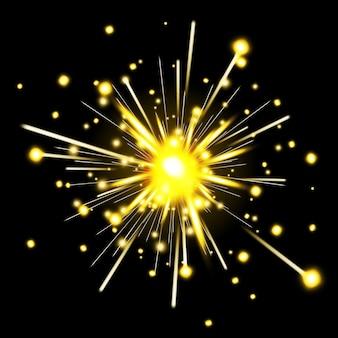 Glühende party wunderkerze. feuerwerk für urlaub, wunderkerzenfeuer, feierfunken, vektorillustration