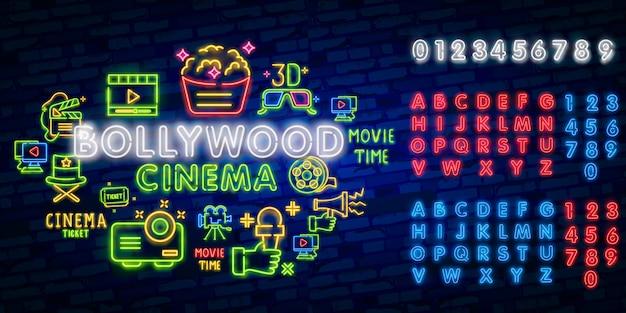 Glühende retro- indische kinoneonzeichen