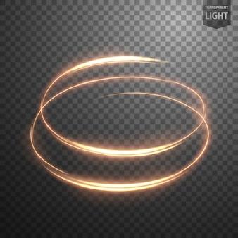 Glühende spirale auf transparentem hintergrund