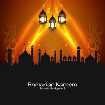 Glühende stilvolle ramadan kareem festival hintergrund design vektor