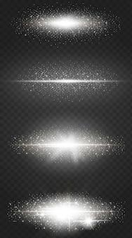 Glühende weiße lichteffektsammlung lokalisiert auf transparentem.