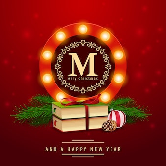 Glühende zeichenschablone des weihnachten mit einem weihnachtsbuch