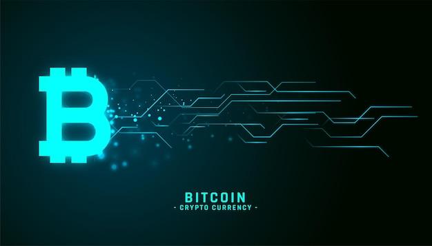 Glühender bitcoin-hintergrund im neonstil mit stromkreislinien