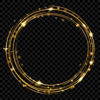 Glühender feuerring mit glitzer in goldfarben auf transparentem hintergrund. lichteffekte. transparenz nur im vektorformat