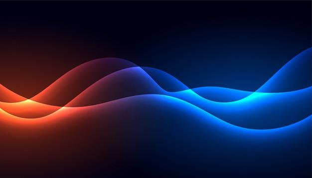 Glühender glänzender wellenhintergrund des technologiestils