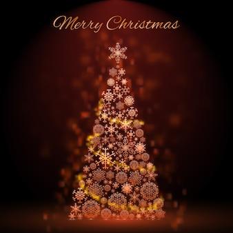 Glühender golden verzierter weihnachtsbaum auf dunkler flacher illustration