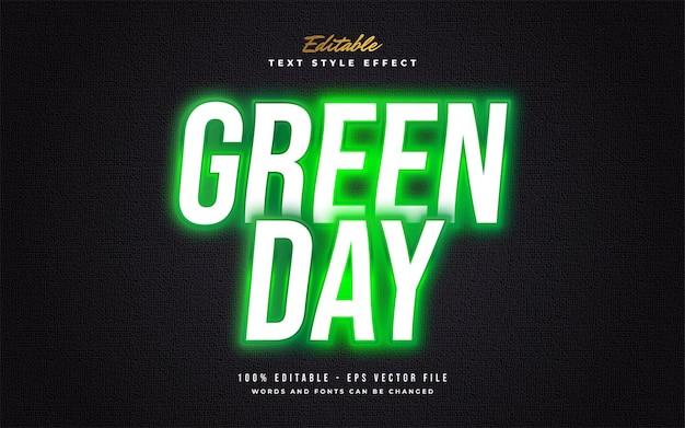 Glühender grüner neon-textstil-effekt lokalisiert auf dunklem hintergrund. bearbeitbarer textstileffekt